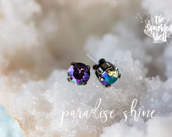 Paradise Shine Swarovski Black Post Stud Earrings - 8mm