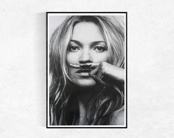 Kate Moss Moustache PRINT, Fashion Poster, Portrait Poster, Kate Moss Portrait, Fashion Wall Art, Scandi Portrait, Model Print, Wall Art