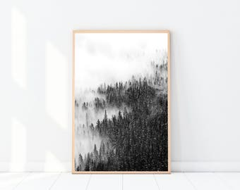 Landscape Photography Print, Forest Art Print, Scandinavian Wall Art, Black & White, Landscape Photograph, Mountains, Modern Minimalist