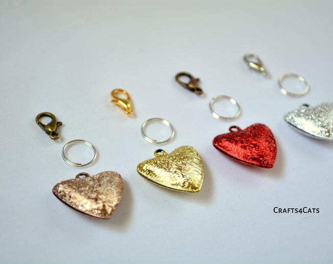 Featured listing image: Cat heart bells for cat collars - pretty accessory for cat collars