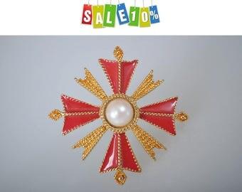 ST. JOHN Maltese Cross Pin Brooch Faux Pearl And Red Enamel, 1980s