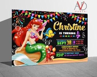 Little Mermaid  Birthday Invitation, Little Mermaid  Birthday, Little Mermaid  Invitation, Little Mermaid  Party, Little Mermaid
