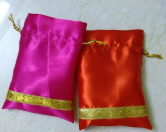 "50 Satin Drawstring Pouch ~ Favor bag -  4""x5"", 4""x6"", 6""x7"" or 6""x8"" - Bridesmaid Gift Bag ~ Potli Bag ~ Jewelry bag ~ Coin pouch."