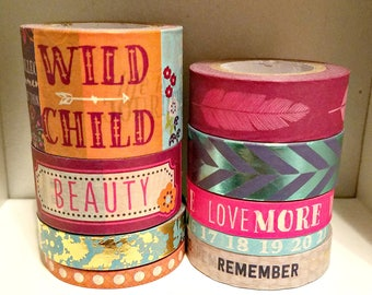 9 Pc. Paint Splatter, Dots, Feathers, Numbers, Foil Fishtail, Phrases Crafting Washi Tapes