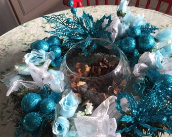 Center piece Simply blue and turquoise glittzy 200