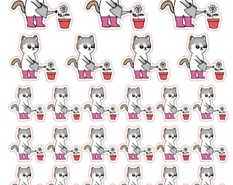 Mauly does the Gardening - Hand Drawn IttyBitty Kitty Collection - Planner Stickers