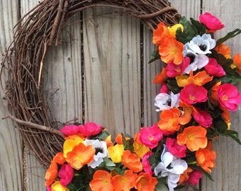 Bright small poppy wreath