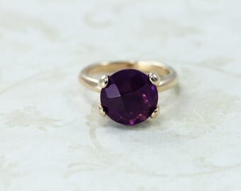 Amethyst Crystal Ring, Rose Gold or Silver plate Ring, Italian Jewelry