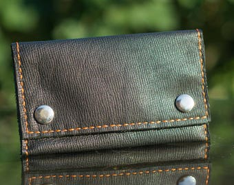 Tobacco pouch slouchy black leather hand sewed
