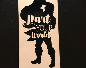Disney's Part of Your World Ariel and Eric Vinyl Decal | The Little Mermaid |Mermaid | Prince Eric | Yeti Cup | Car Window Sticker | Laptop