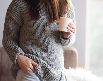 Chunky Knit Sweater Pattern, Beginner Knit Sweater Pattern, Super Chunky Knit Pullover Pattern, Winters Chunky Knit Pullover