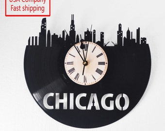 Chicago Skyline themed Vinyl Album Record Clock made in the > USA < with FREE Shipping!
