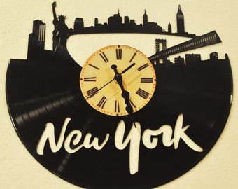 New York City themed Vinyl Album Record Clock made in the > USA < with FREE Shipping!