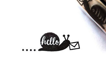 Hello Snail Mail, Rubber Stamp, Polymer Stamp