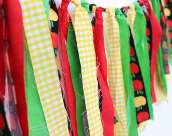Apple fabric garland, Apple garland, Fabric strip garland, Apple fabric banner, Apple banner, Fall decor, Home decor, Autumn decor, Banner