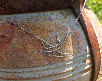Swallow necklace in sterling silver, bird necklace