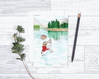 """Not All Who Wander Are Lost - Note Cards - Gifts for her - 4""""x6"""" - Individual -Canoeing - Wilderness - Great Outdoors - Adventure -Discover"""