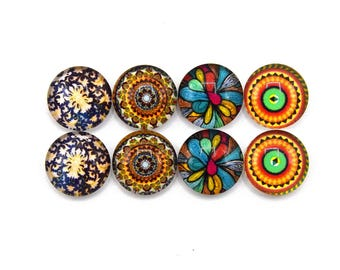"""8 cabochons round glass mixte12mm series 1 """"8"""""""