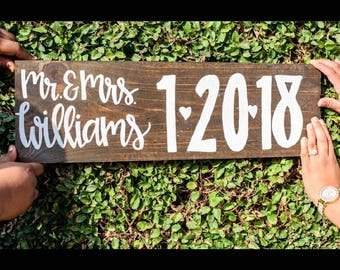 Engagement wedding date hand lettered wood sign