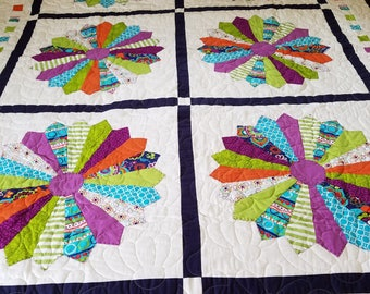 Flower Power quilt in bold, bright colors