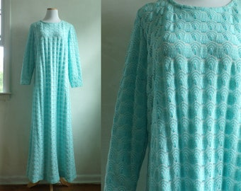 60s eyelet dress size large light blue dress knit maxi dress blue day dress long sleeve shift dress mad men dress mod 60s dress