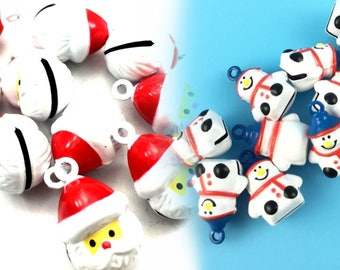 Christmas!!! Santa /Snowman Jingle Bells Charms 2 Pieces/set