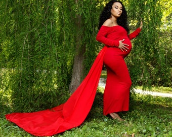 Fitted Maternity Gown for Photo Shoot-Baby Shower Dress-Long Maternity Dress-Fitted Maternity Gown-Sweetheart Neckline Maternity Dress