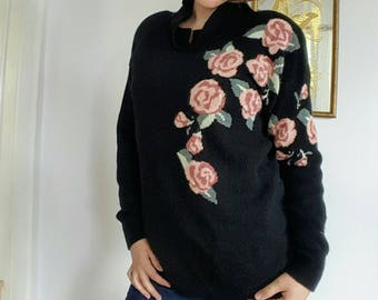 Vintage Black Lambswool/Angora Sweater with Roses.