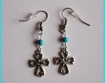 Cross and blue beads earrings