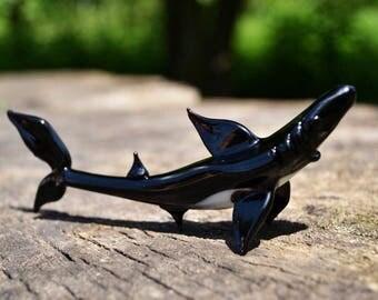 Black Glass shark figurine animals blown glass shark gift miniature art glass toys murano black glass shark collection figures toys