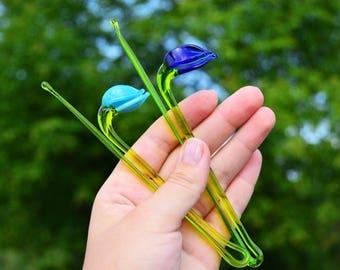 Blue Glass snowdrop flowers ornaments figurine blown flower sculpture art glass flower murano toys big garden flower miniatures figure toys