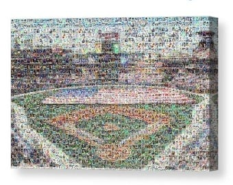 Unique Atlanta Braves Mosaic Art Print of SunTrust Park from 295 Braves Player Cards Images.  All the Greats Included.