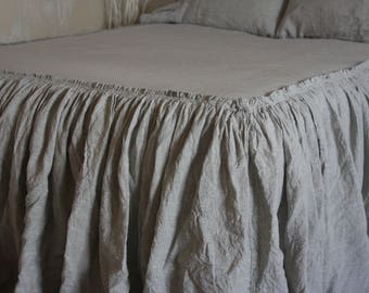 Linen Coverlet  Super Soft Linen Bed Cover Bedspread with Ruffles Dust Ruffles Bed Cover Twin  Full Queen King ALL sizes