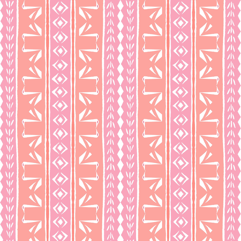 TRIBAL SWAN STRIPE Peach & Pink Peel and Stick Wallpaper 2 x 10