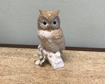 Vintage Glossy Ceramic Owl On Branch Figurine - Japan