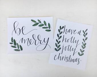 Holly Jolly Christmas // 8x10 Framable Art Print // Handlettered // Holiday Art