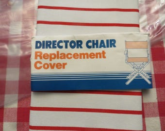 vintage directors chair replacement canvas white u0026 red stripes w free ship