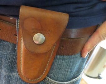 Ideal Knife Sheath Leather, made in USA Vintage w/ free ship