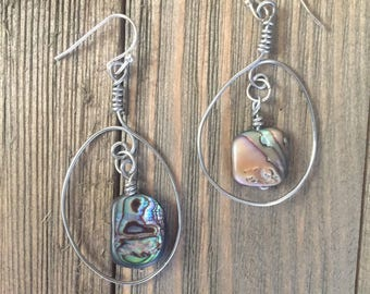 Abalone seashell circle spiral earrings