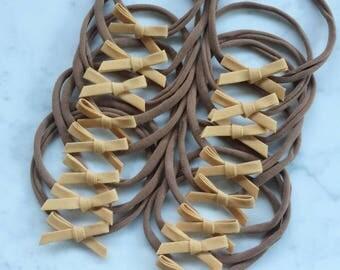 Mustard petite skinny bow headbands | tan nylon headband