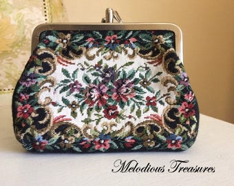 vintage coin purse petit point floral embroidered purse vintage tapestry change purse woven