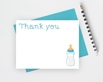 Baby shower thank you note cards, thank you cards set,  thank you notes, thank you cards baby shower, baby stationery, flat note cards, BBB