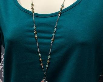 Anchor necklace, Antique Patina anchor necklace, Beaded Charm Necklace