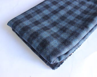 Blue/Navy check wool mix suiting