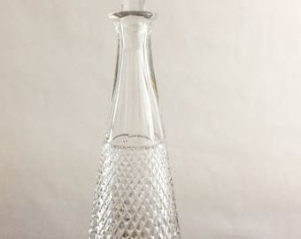 Vintage Cut Glass Lead Crystal Decanter Etched Design Floral Barware Scotch Whiskey Wine Liqueur Liquor