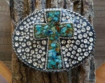 Cross belt buckle, custom, turquoise, rhinestones, clay,  western theme, western