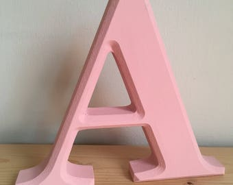 Hand painted pink freestanding letter A