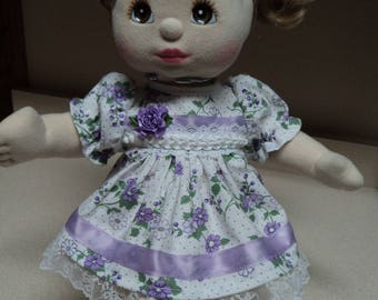My Child Doll Outfit / Dress - 4 Pc. Lavender & White Floral and Dot