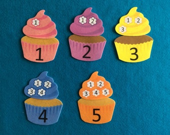 Montessoriquiet book Felt stories cupcakes//Felt board stories math//matching numbers game//educational toy//travel flannel stories cupcake