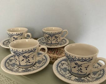 EIT England Blue & White Four Teacups And Saucers